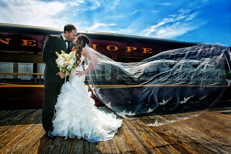 new hope, pa vintage train wedding