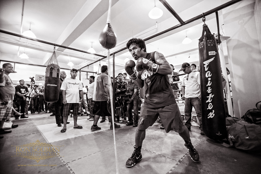 Manila, Philippines - World Boxing Champion and Congressman Manny 'Pacman' Pacquiao begins his training at MP Tower gym in Manila on April 17, 2012 in preparation for his fight against American boxing champion Timothy Bradley in Las Vegas on June 9, 2012. The MP Tower gym, a six-level building located in the outskirts of Manila is used to be the old L&M Gym, where Pacquaio first trained as a boxer when he was 17 years-old.  Photo by Ron Soliman