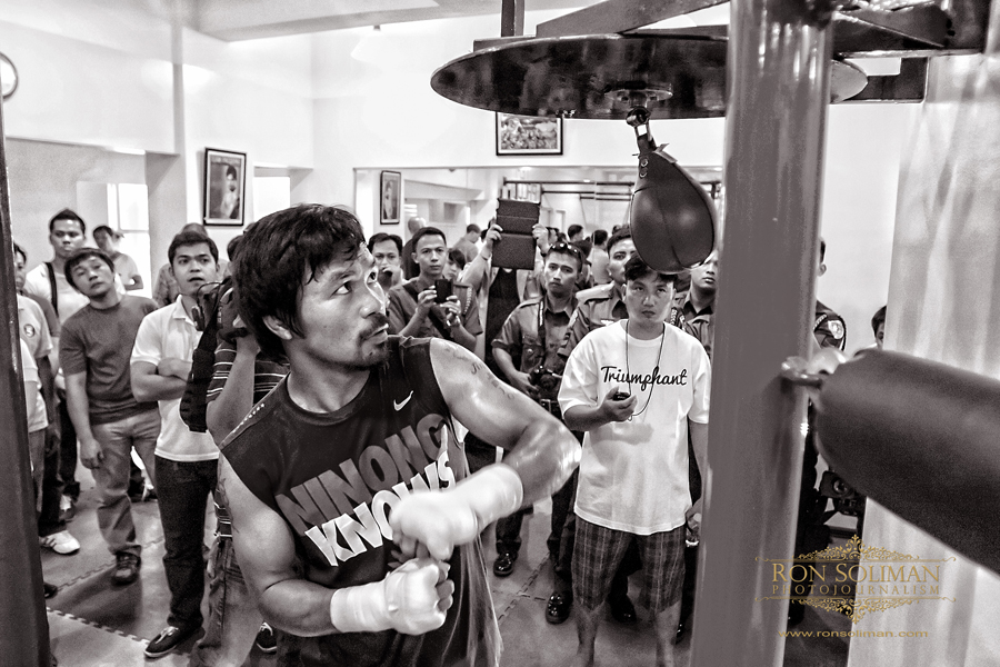 Manila, Philippines World Boxing Champion and Congressman Manny 'Pacman' Pacquiao begins his training at MP Tower gym in Manila on April 17, 2012 in preparation for his fight against American boxing champion Timothy Bradley in Las Vegas on June 9, 2012. The MP Tower gym, a six-level building located in the outskirts of Manila is used to be the old L&M Gym, where Pacquaio first trained as a boxer when he was 17 years-old.  Photo by Ron Soliman