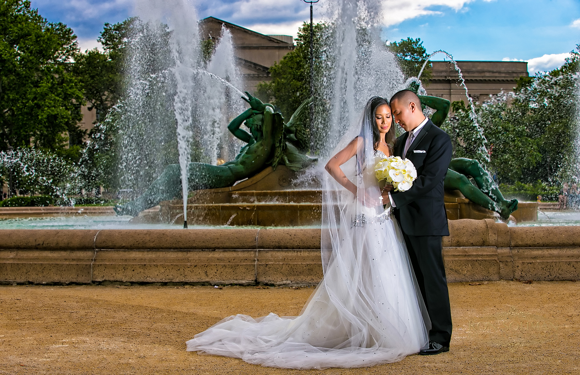 logan fountain wedding photo