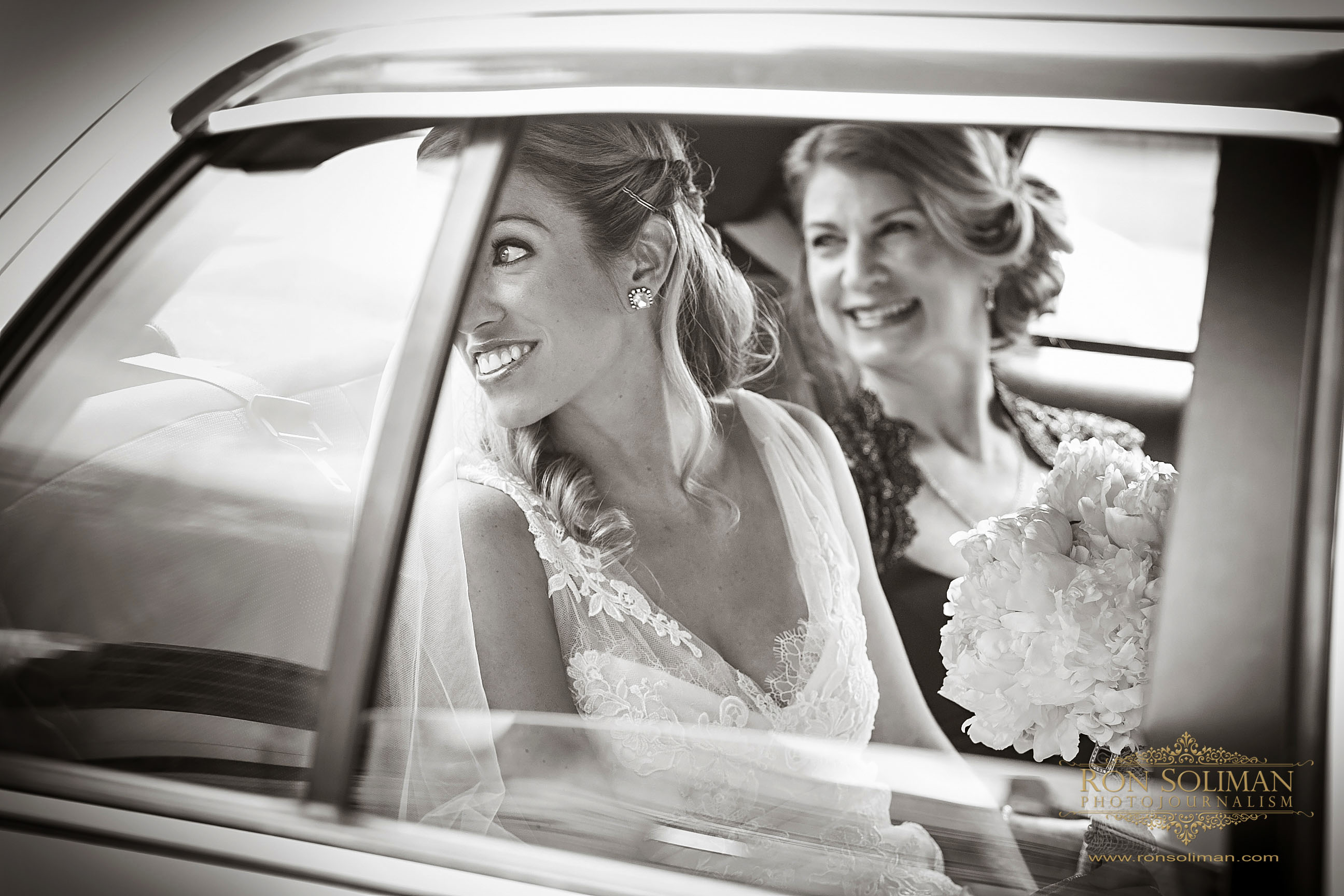 bride in a taxi cab