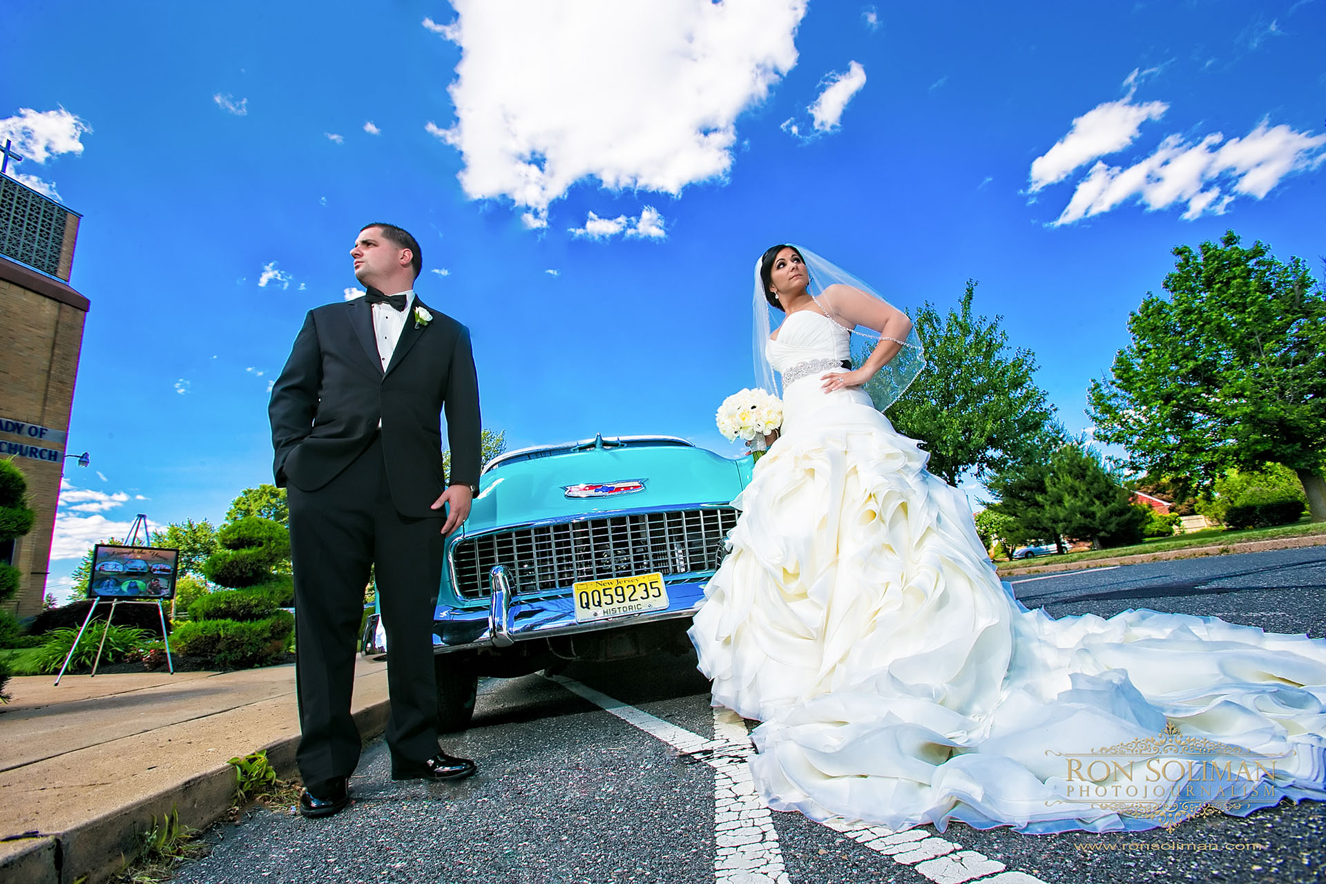 blue 1955 Chevy wedding car