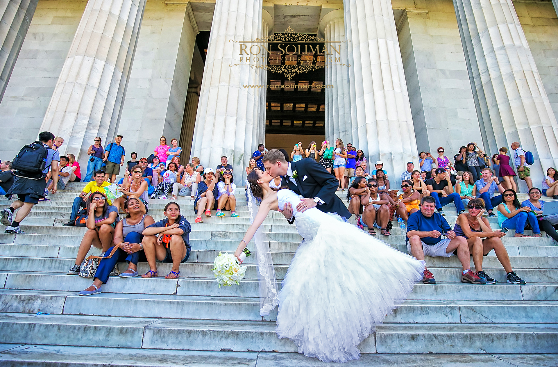 Bride and Groom photo at the Lincoln Memorial in Washington DC
