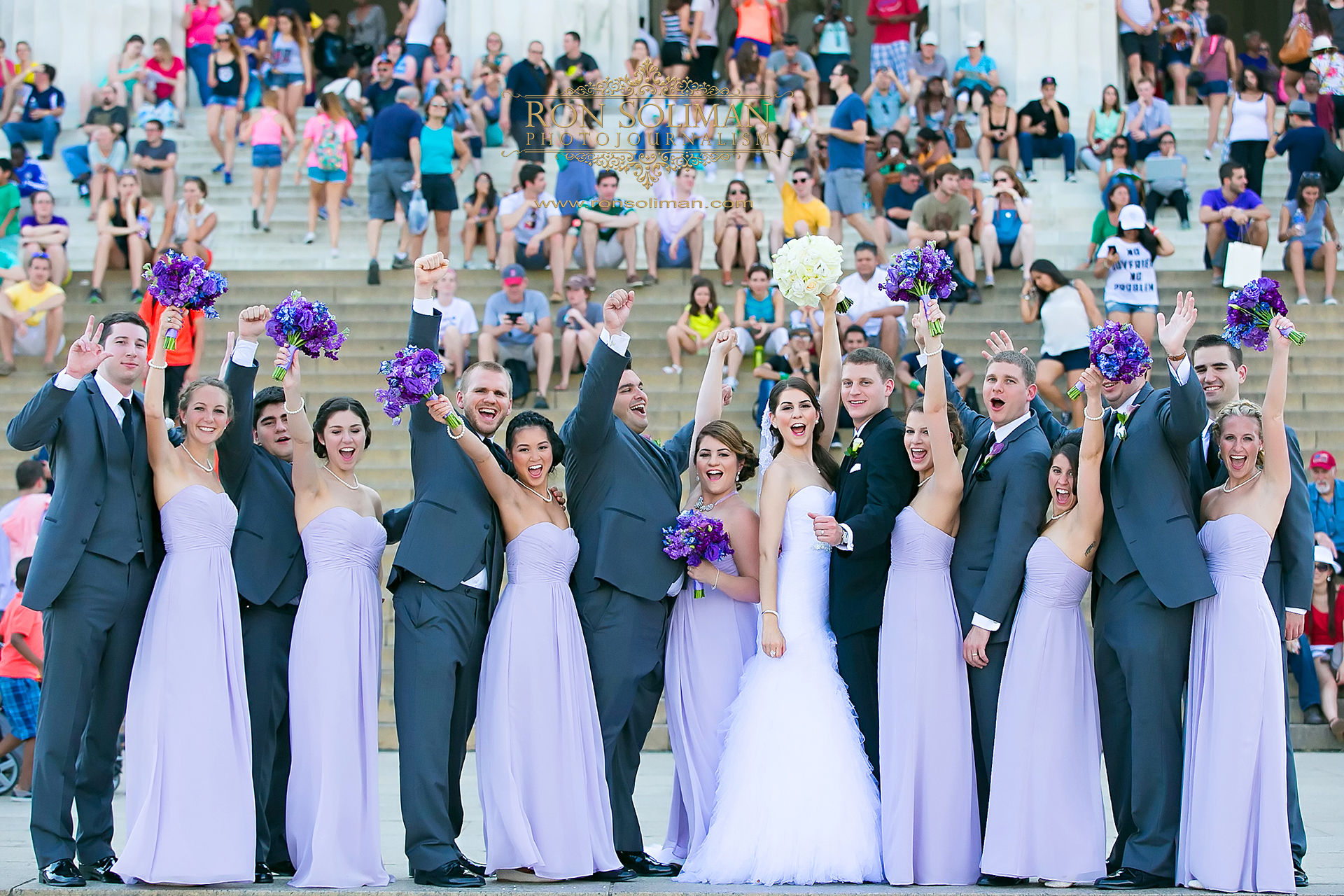 bridal party photo at the Lincoln Memorial in Washington DC
