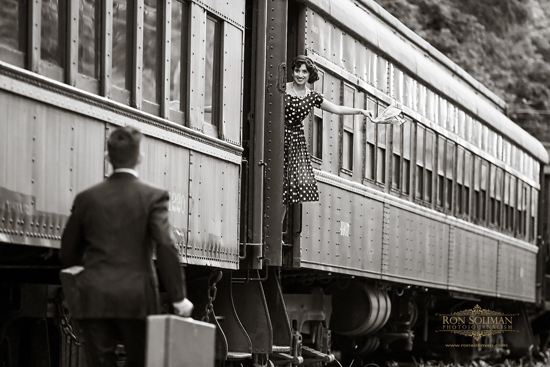 VINTAGE TRAIN ENGAGEMENT PHOTO