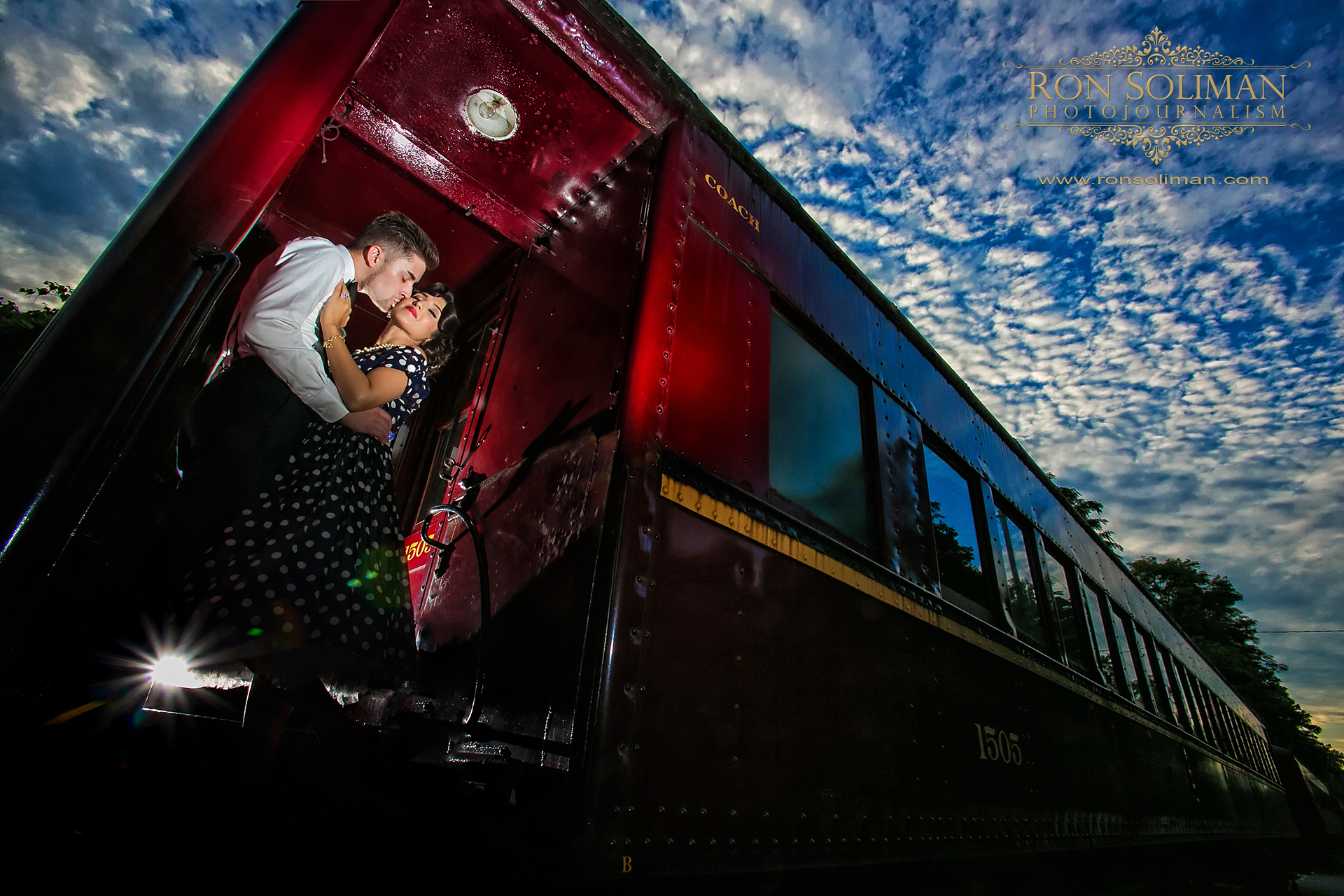 VINTAGE TRAIN ENGAGEMENT PHOTO