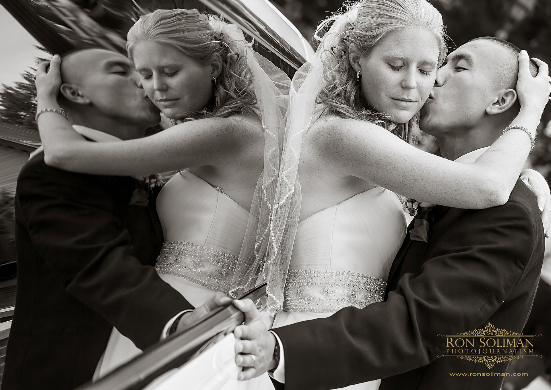 bride and groom limousine reflection