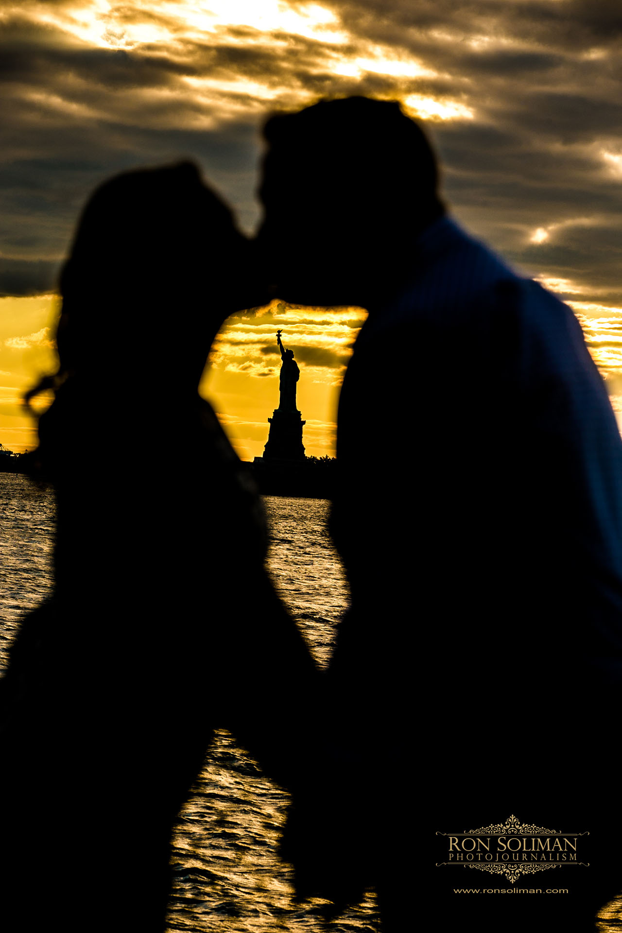 governor's island engagement photo