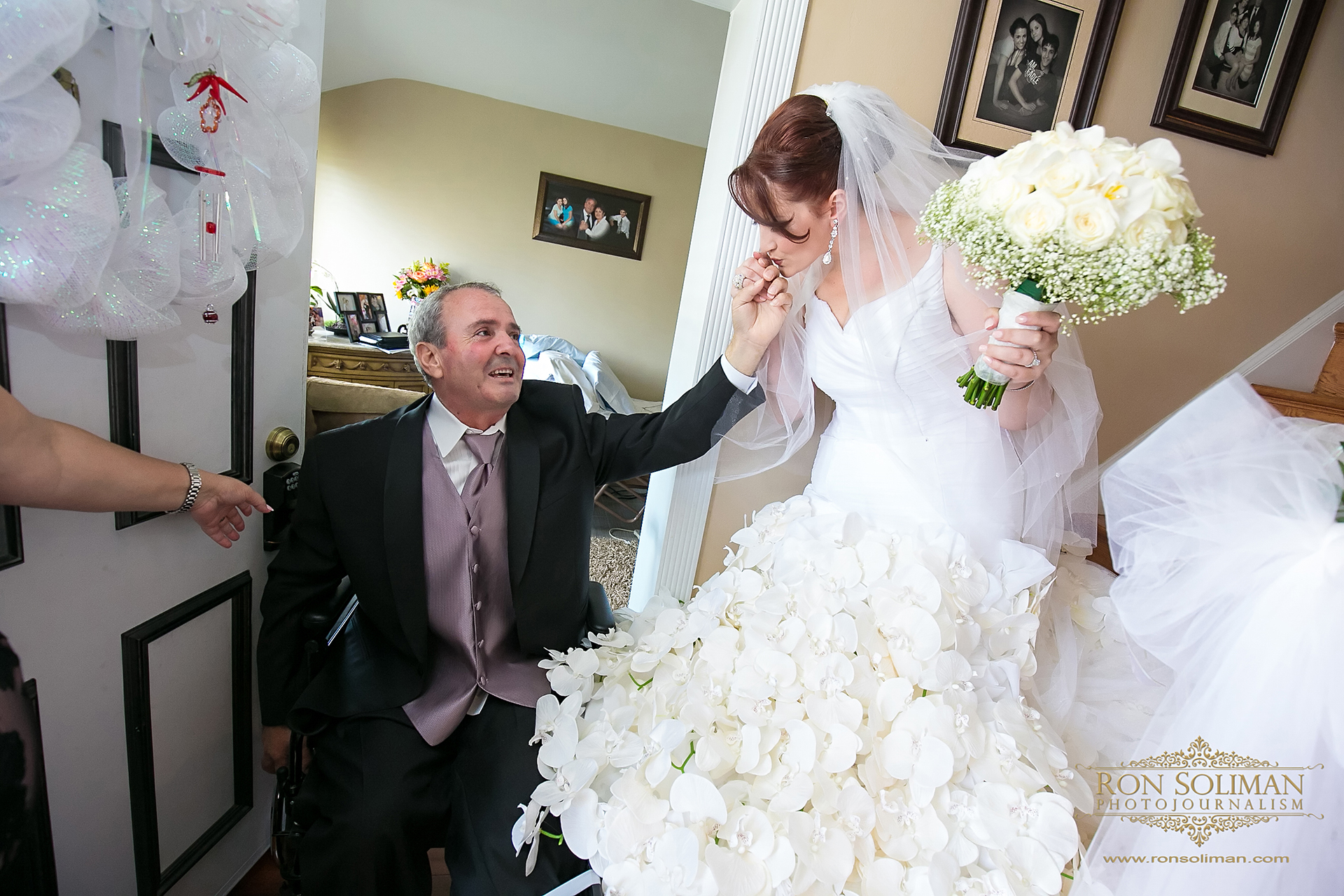 wedding gown with orchids decoration