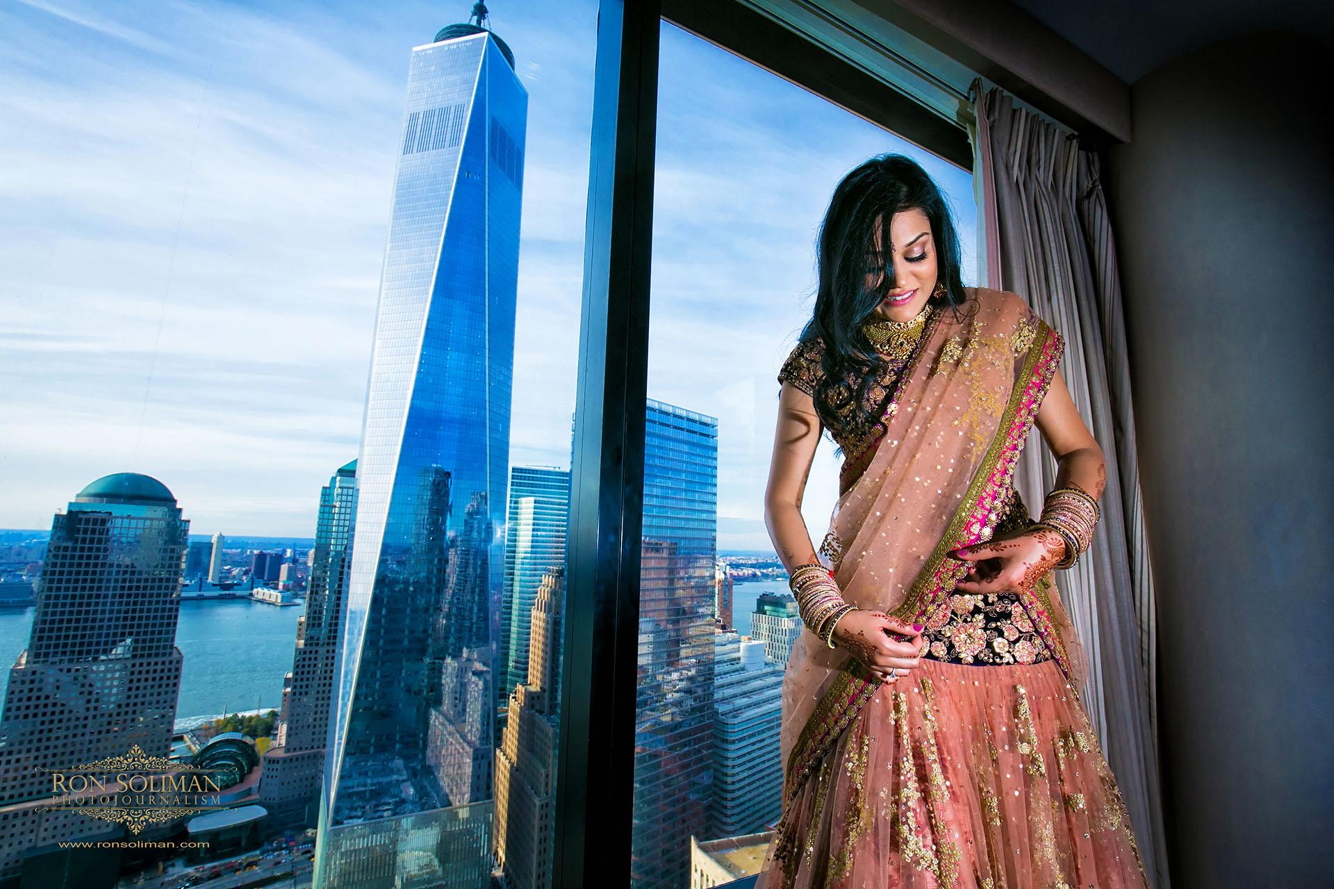 Freedom tower wedding photo