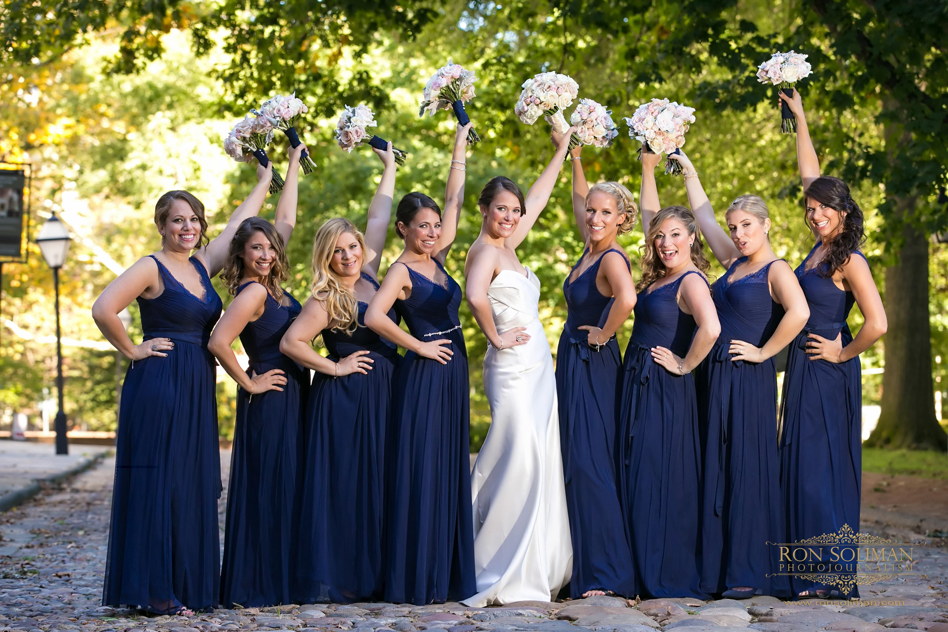 Bride photobombs groomsmen