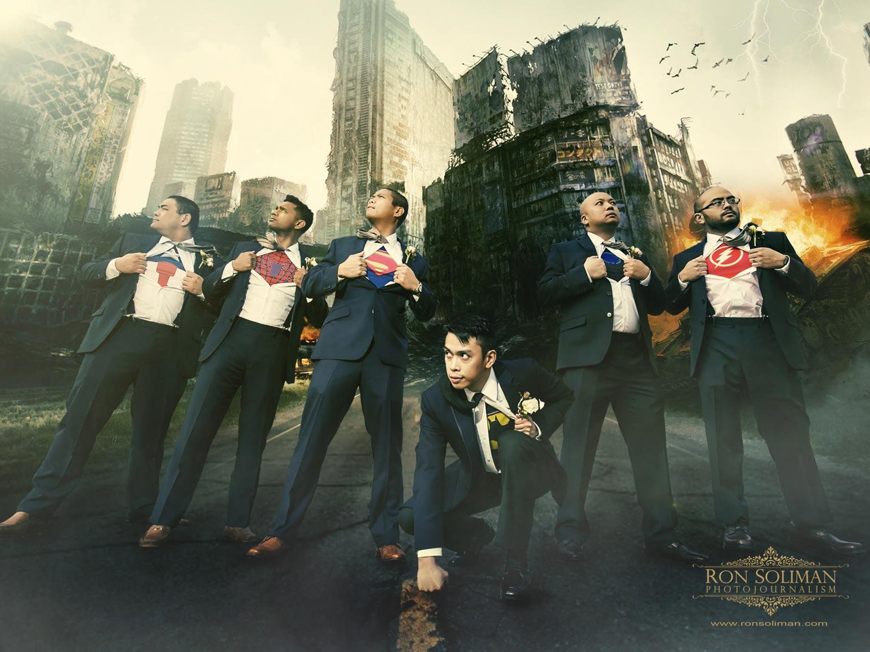 Best Superhero groomsmen photos