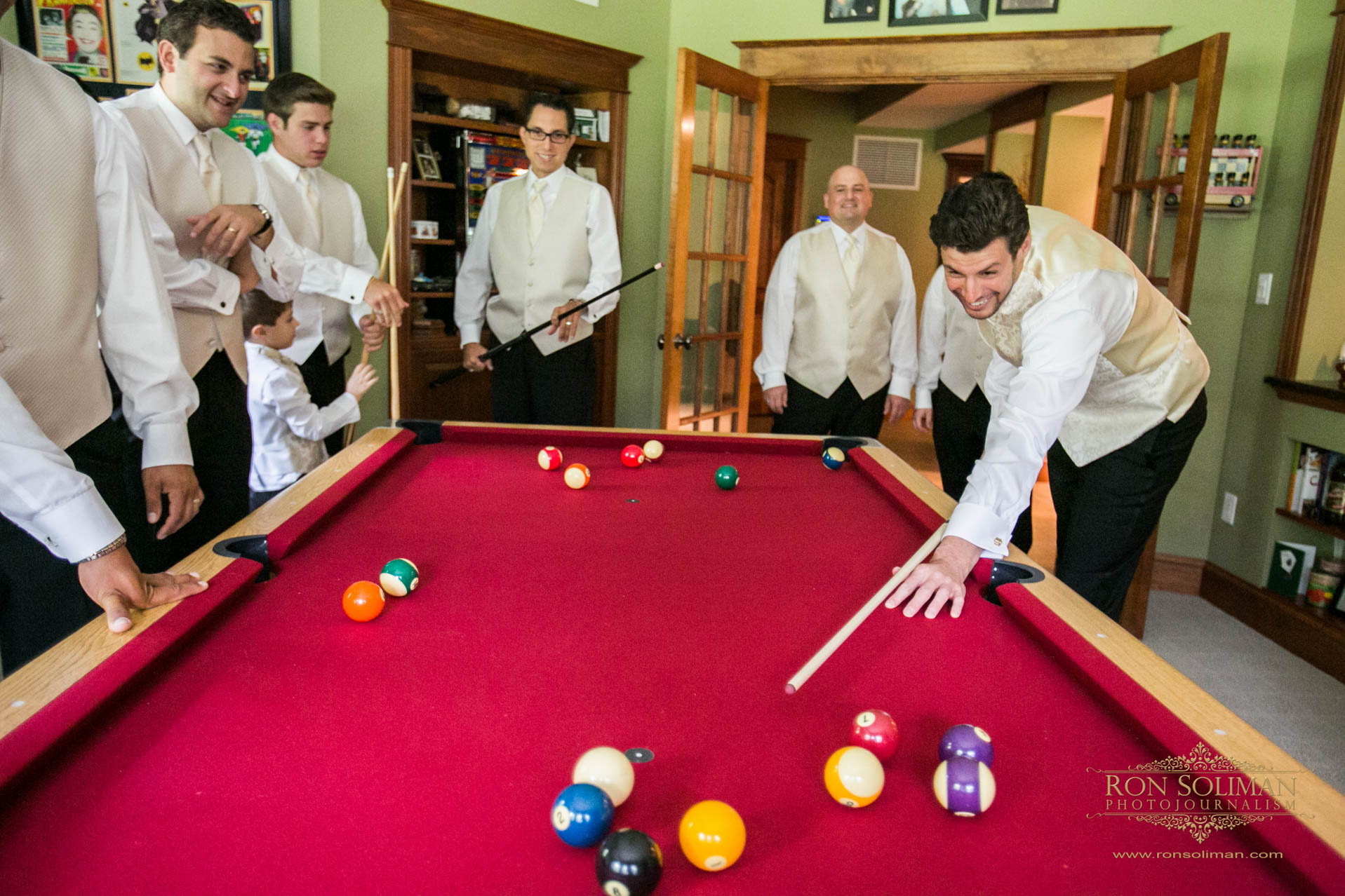 Billiard table wedding photos