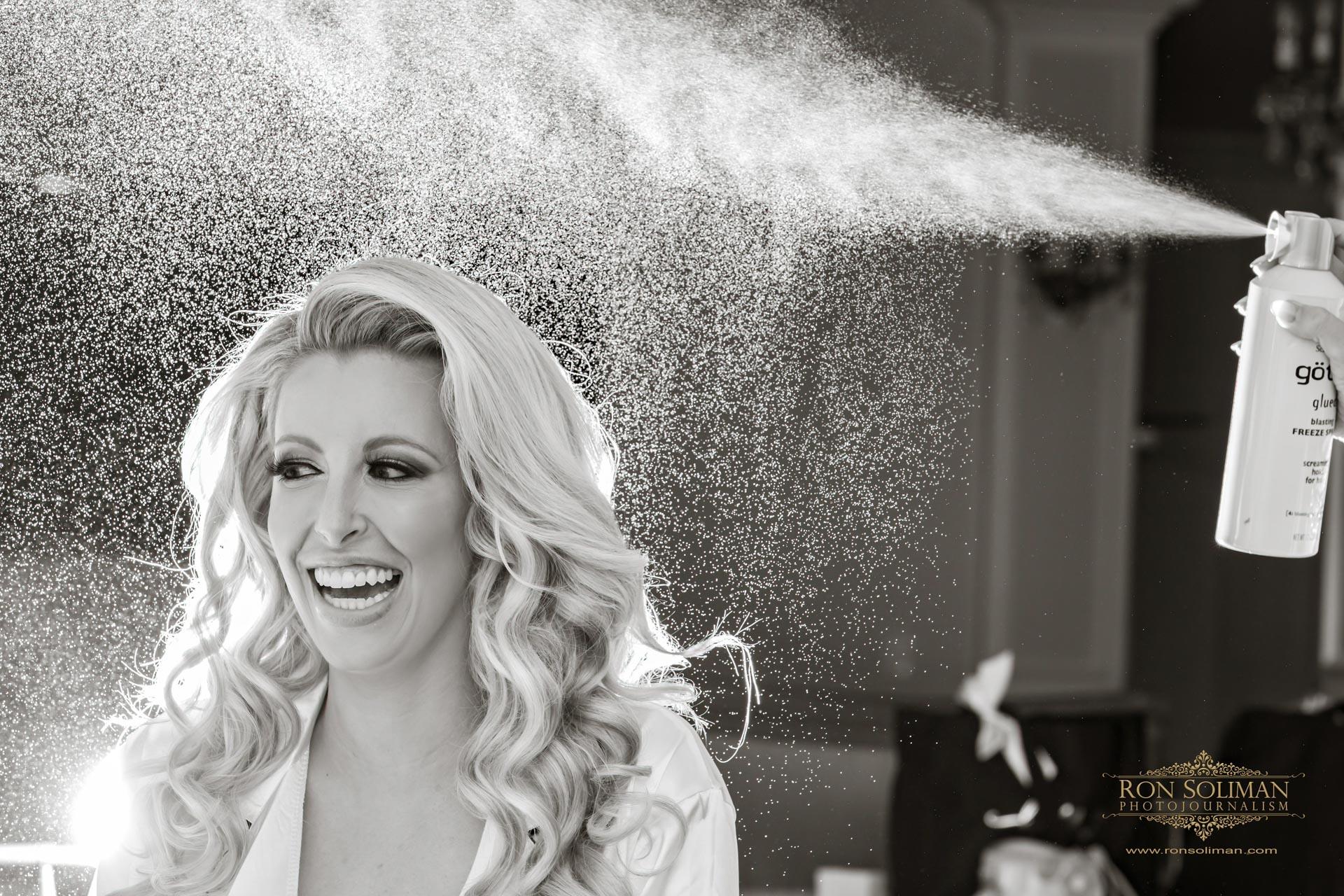 Hair spray wedding photos